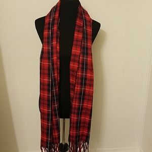 Coed Plaid scarf  with fringe